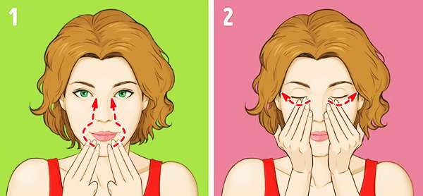 Упражнение № 6 - Массаж вокруг губ и под глазами