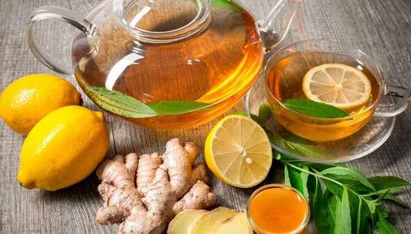 Чай с имбирем и лимоном для похудения Фото