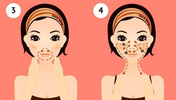3 - массаж вокруг рта, 4 - массаж вокруг носа и по щекам
