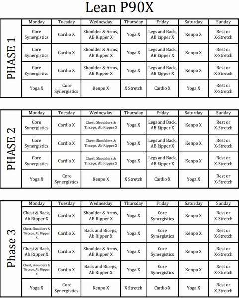 Календарь тренировок P90x Lean