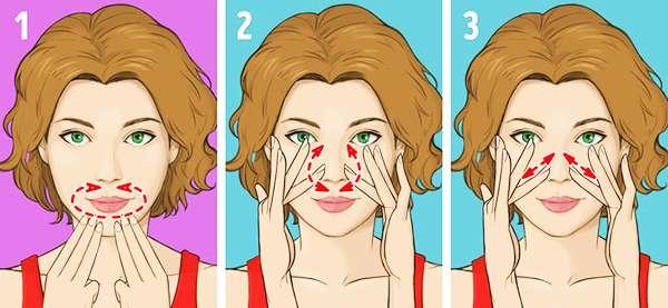 Упражнение № 4 - Массаж носогубной области, Упражнение № 5 - Массаж носа