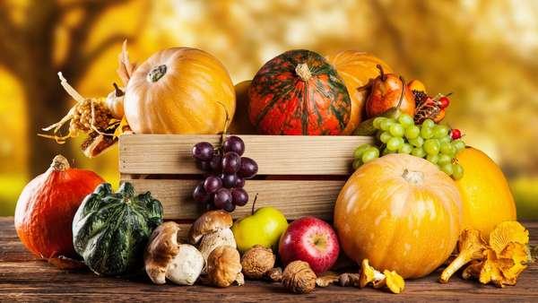 Осенние овощи и фрукты Фото