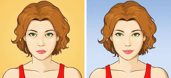 До и после одного месяца регулярного выполнения массажа асахи