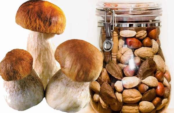 В каких растительных продуктах содержится белок - грибы, орехи