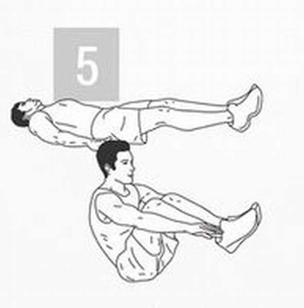 Упражнение для тренировки мышц пора: подъем корпуса и ног