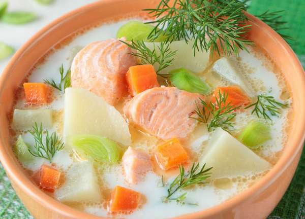 Блюда скандинавской кухни - сливочно-рыбный суп