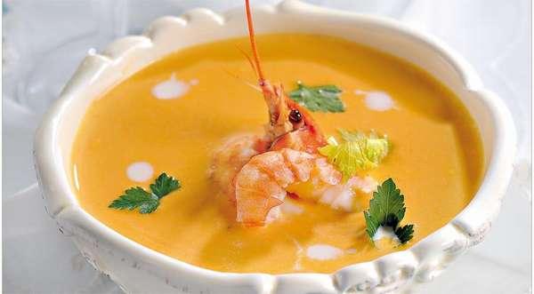 Фото тыквенного супа с креветками