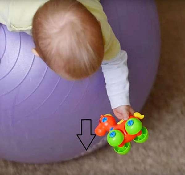 Упражнение схвати игрушку на фитболе для грудничков