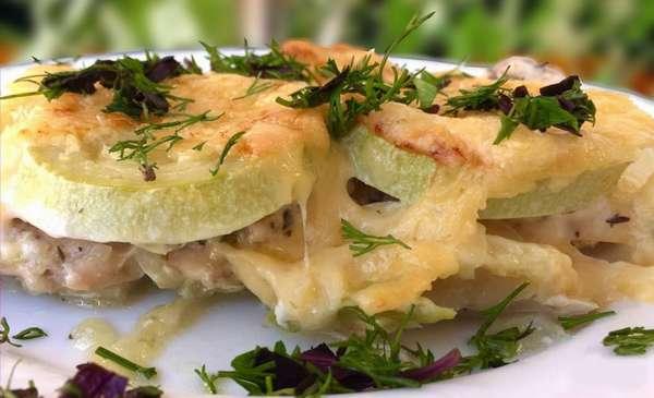 Рецепт приготовления запеченной курицы с кабачками в духовке